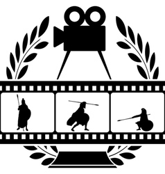 Laurel wreath and film with warrior vector