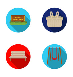 Lawn with a sign a basket with food a bench a vector
