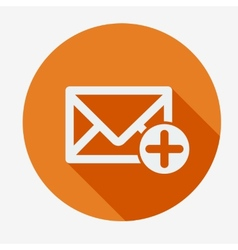 Mail icon envelope with plus sign Flat design vector image