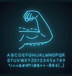 Male arm lift surgery neon light icon vector