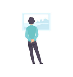 Man looking at the painting hanging on the wall vector