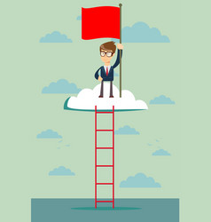 man on the top of the cloud holding the red flag vector image