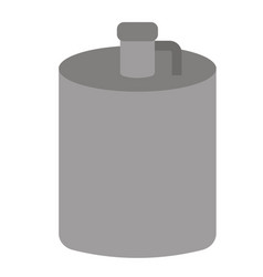 Metal flask flat on white vector