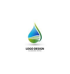 Natural drop water logo template design vector