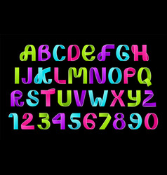 neon alphabet of paper folding vector image
