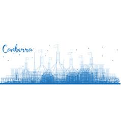Outline canberra australia city skyline with blue vector
