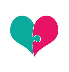 pink and green heart assembled of two puzzle vector image