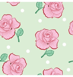 Pink roses and white dots on green seamless vector image