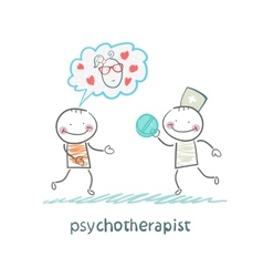psychotherapist gives the patient a pill vector image