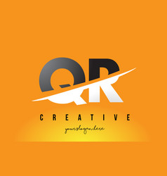 Qr q r letter modern logo design with yellow vector