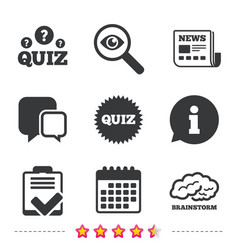 quiz icons checklist and brainstorm symbols vector image