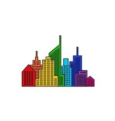 Rainbow cityscape design vector image