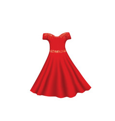 Red dress with glitter vector