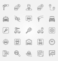 rent a car icons set vector image