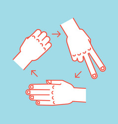 Rock scissors paper gestures stylized hands in vector