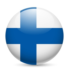 Round glossy icon of Finland vector