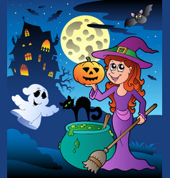 Scene with halloween mansion 8 vector