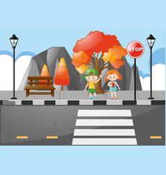 Scene with kids crossing street vector