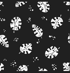 seamless stylized white natural monstera pattern vector image
