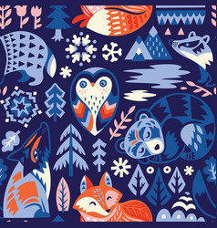 Seamless woodland pattern with decorative animals vector