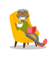 Senior african-american man reading a book vector