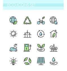 set eco icons ecology vector image