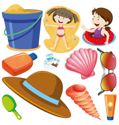set isolated objects theme girls on beach vector image