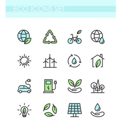 set of eco icons ecology vector image