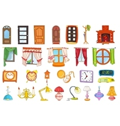 set of house interior objects vector image