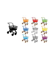 set shopping cart icon flat design toy cartoon vector image