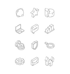 social marketing isometric web media symbols vector image