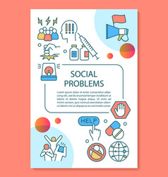 Social problems poster template layout vector