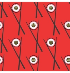 Sushi and chopsticks seamless pattern vector image