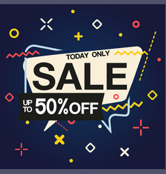 today only sale up to 50 off speech blue backgrou vector image