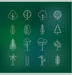 tree outline icon set vector image