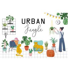 Urban jungle trendy home decor with plants vector