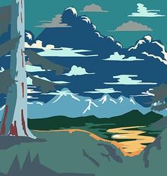 Vintage Style Landscape Background Retro Ads Print vector