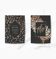 Wedding invitation cards save the date animal skin vector