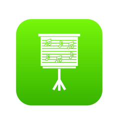 whiteboard with music notes icon digital green vector image