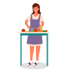 Woman cutting vegetables making salad dish vector