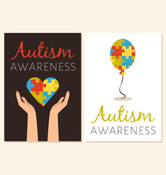 World autism awareness posters with colored puzzle vector