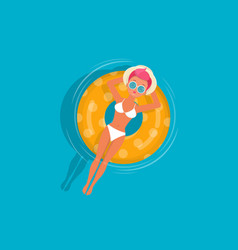 young girl relaxes on floating inflatable ring vector image
