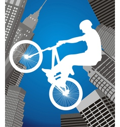 cyclist on a city background vector image vector image