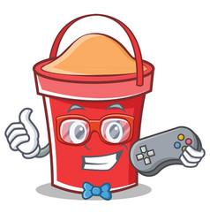gamer bucket character cartoon style vector image vector image