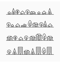 Outline buildings and trees in line 4 different vector image vector image