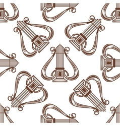 Seamless musical harp pattern vector image vector image