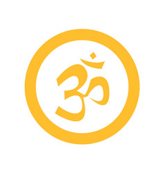 simple circular yellow om symbol vector image