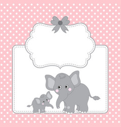 template card with cute elephants vector image