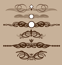 Abstract brown floral shape frames set in outline vector image vector image