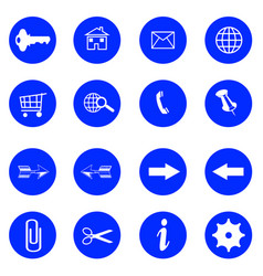 blue flat buttons with internet icons vector image vector image